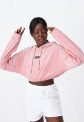 Velour Cropped Hoody - Silver Pink