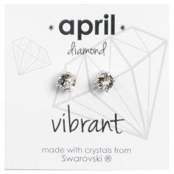 No Brand - Silver Swvski April Studs Mdd-apr