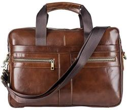 Genuine Leather Briefcase Messenger Bag For Men With Padded Laptop Protection For 14 Inch Computer - Shoulder Satchel Or Crossbo