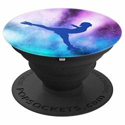 Figure Skater Blue Silhouette On Watercolor Back