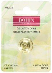 Odif Bohin 91208 Gold Plated Brass Thimble Medium
