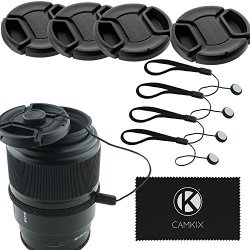 CamKix Lens Cap Bundle - 4 Snap-on Lens Covers For Dslr Cameras Including Nikon Canon Sony - Lens Cap Keepers Included 67MM