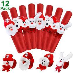 USA Pawliss Christmas Slap Bracelets Santa Claus Snowman Reindeer Wristband Xmas Decorations 12 Pcs