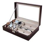 KingFireTorch Watch Box Sunglasses Eyeglasses Eyewear Organizer Display Storage Case Pu Leather Glass Top Display Watch & Jewelr