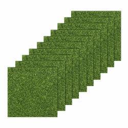 Tugaizi 10 Pieces Artificial Garden Grass Turf Tile Lawn Life-like Fairy Artificial Grass Lawn Miniature Ornament Garden Dollhou