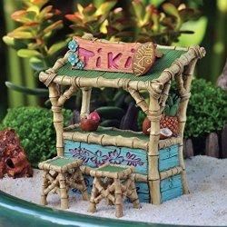 Lunarland Miniature Dollhouse Fairy Garden Tiki Bar And Two Stools