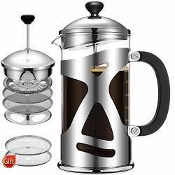 Cumbor French Press Coffee Maker 34OZ Durable Stainless Steel Coffee Press With 4 Filter Screens Easy Clean Heat Resistant Borosilicate Thicker Glass - 100% Bpa Free