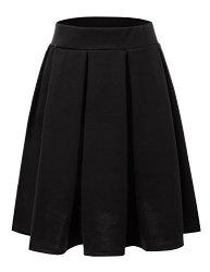 Elastic Doublju Waist Flare Pleated Skater Midi Skirt Plus Size Available Black Small