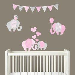 Decal The Walls Elephant Balloon Heart Fabric Wall Decal Sticker Set Nursery Room Decor