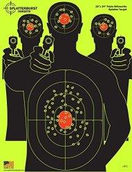 Splatterburst Targets - 18 X 24 Inch - Triple Silhouette Reactive Shooting Target - Shots Burst Bright Fluorescent Yellow Upon I