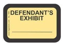 """LegalStore.com Legalstore Exhibit Labels """"defendant's Exhibit"""" Yellow Laser Compatible On 8.5""""X11"""" Sheets"""
