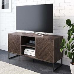 Nathan James Dylan Media Console Cabinet Or Tv Stand With Doors For Hidden Storage Herringbone Wood Pattern And Metal Gray matte