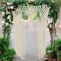 """Aerwo Macrame Backdrops For Boho Wedding 59""""X 41"""" Large Woven Wall Hanging For Macrame Arch Window Door Curtains Valance"""