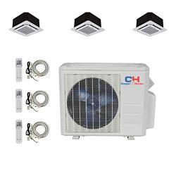 Cooper And Hunter Tri 3 Zone Ductless MINI Split Ceiling Cassette Air Conditioner Heat Pump 9000 9000 12000