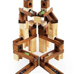 60 Pieces Wooden Classic Ramps Track Marble Run Toys