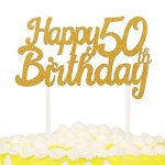 PALASASA Single Sided Glitter Happy Birthday Cake Toppers Decorations Tool Party Supplies 30th Gold