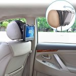 Universal Car Headrest Mount Holder With Angle- Adjustable Holding Clamp For Swivel Screen Portable DVD Players Black