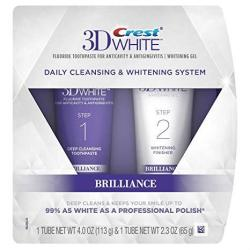 Crest 3D White Brilliance Daily Cleansing Toothpaste And Whitening Gel System All New Super Savings Pkg 2 Count