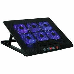 A&dw 12-17 Inch USB Notebook Pad Laptop Radiator With 6 Mute Cooling Fans Computer Cooler Base With Touch Screen Black