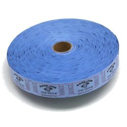 MUNCIE NOVELTY COMPANY Blue Good For One Drink Ticket Roll : Roll Of 2000