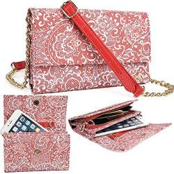 NuVur Red Large Women's Universal Lace Print Over The Shoulder ::card Slots:: Wallet Smartphone Clutch Fits Huawei Mate S