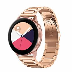 Hatalkin Compatible With Samsung Galaxy Watch ACTIVE2 Band Stainless Steel With Removal Tool Adjustable Wristband For Samsung Galaxy Watch Active 2 Rose Gold