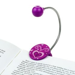 WITHit Disc LED Reading Light By - Purple - LED Book Light With Chrome Neck For Books E-reader And E-book Light