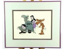 USA Rocky Bullwinkle Cel Signed Jay Ward Rare Boris Natasha Animation Cell
