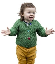 Carraig Donn 100% Irish Merino Wool Traditional Aran Knit Green Baby Sweater.
