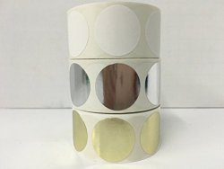 """Labels And More 3 Rolls Of 500 Labels Each Color 1-1 2"""" Round Blank Circle Color Coded Coding Inventory Quality Control Stickers Identification Dots 1 Roll Each: White Gold Silver"""
