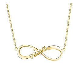 d5b73be270afc Necklaceforyou Personalised Single Infinity Name Necklace Customied Couples  Jewelry Gift Gold-plated-base 18