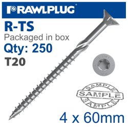 RawlPlug Torx T20 Chipboard Screw 4.0X60MM X250-BOX