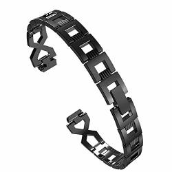 Fits Fitbit Inspire inspire Hr Metal Wristband Stainless Steel Cutout Cross-chain Strap Metal Bracelet Adjustable Wristband Black