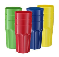 a48ec95b7bf5 12 Pack - Hard Plastic Tumblers Reusable Drinking Glasses Break-resistant  Drinkware Dishwasher Safe Party Cups Kids Fun Colors 20 Oz.