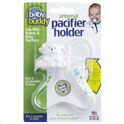 Baby Buddy Universal Pacifier Holder White Tossed Baby Feet