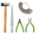 YaeTek Jewelry Tools Kit Including Jewelers Rubber Hammer Metal Ring Mandrel Ring Sizer Ring Tool Finger Gauge Nylon Jaw Pliers