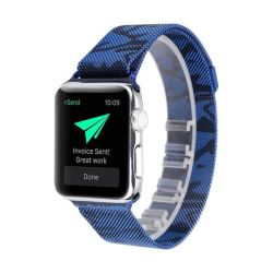 Metal Strap For Apple Watch Compatible With 42MM & 44MM Camo Blue