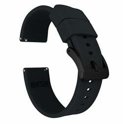 19MM Black - Barton Elite Silicone Watch Bands - Black Buckle Quick Release