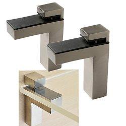 Windspeed 2 Set Of Wood glass Shelf Bracket Holder wall Mount Panel Glass Clip Clamp Adjustable Brushed Nickel Large
