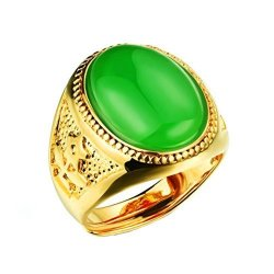 1cd5692c1 PAURO Men's Stainless Steel 18K Gold Plated Oval Emerald Gemstone Ring  Adjustable Green