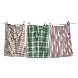 Tag 207425 Yuletide Holiday Kitchen Dishtowel Set Of 3 Green Red White