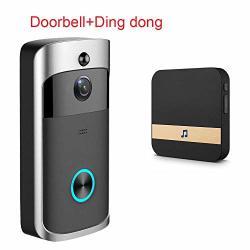 Etbotu Smart Wireless Wifi Doorbell Ir Video Camera Intercom Record Home Security Bell Black Eu Plug