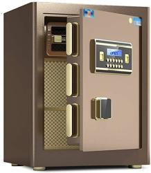 USA Wall Safes Password Safe office Anti-theft Fingerprint Box all Steel Household Small 45CM Safe wardrobe Safe Deposit Box Cabinet Safes Color : Brown