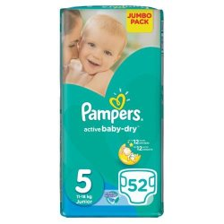 Pampers Active Baby Dry 52 Nappies Size 5 Jumbo Pack