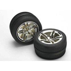 Traxxas 5575 Victory Tires Pre-glued On Chrome Twin-spoke Wheels Nitro Front Pair