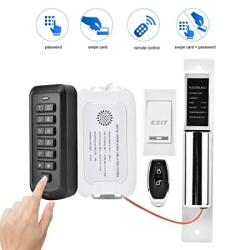 Door Access Control System Kit 2.4G Wireless Home Security Door Access Control Machine Two Wire Electric Bolt Lock With Remote Control Entry Keypad