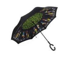Reversible Umbrella With Design - City Under Tree