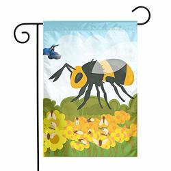 Yangxih Cartoon Flower And Bee Insect Garden Flag House Yard Seasonal Banner With Vivid Color And Uv Fade Resistant For Outdoor indoor Home Decor Party