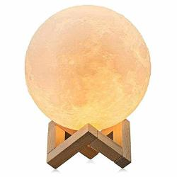 Valnmore 3D Moon Lamp Moon Lamp With Stand 5.9 Inch Two Color Warm White And Harvest Yellow Touch Control Brightness USB Charging Kids Night Lamp