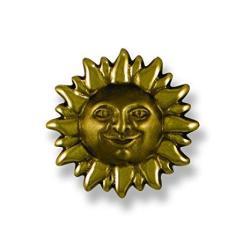 Smiling Sunface Doorbell Ringer - Brass